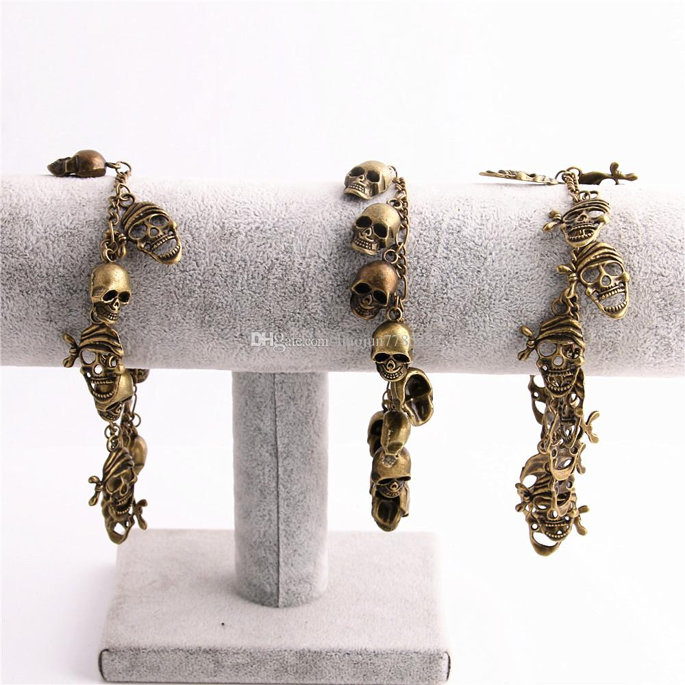 1 piece Metal Alloy Zinc Antique Bronze Bracelet Skull Pendant Charm Chain Handmade Diy Jewelry Making C0610