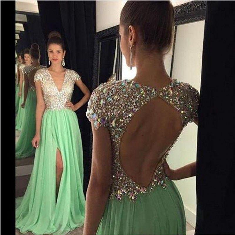 Lange Abendkleider 2017 Green Slit Kristalle Perlen V-ausschnitt Eine Linie Vestidos De Festa Prom Party Kleider Kostenloser Versand Benutzerdefinierte Plus Größe