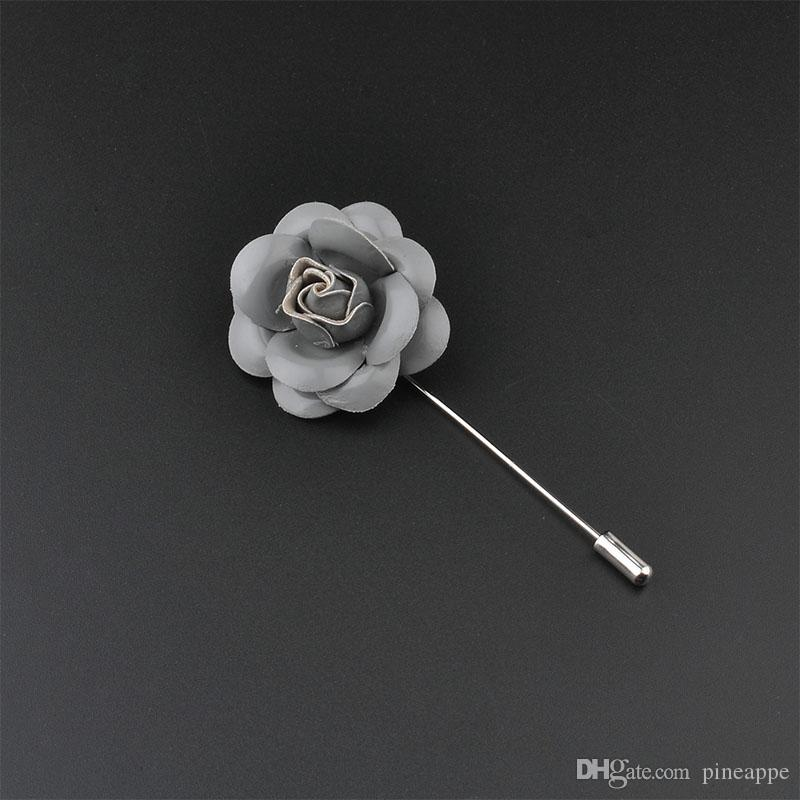bcdf3d8ad7bdc 2019 Men'S Handmade PU Leather Flower Lapel Pin Brooch Boutonniere For Suit  Wedding Evening Banquet Charm Classic Women Brooches Flower Broches From ...