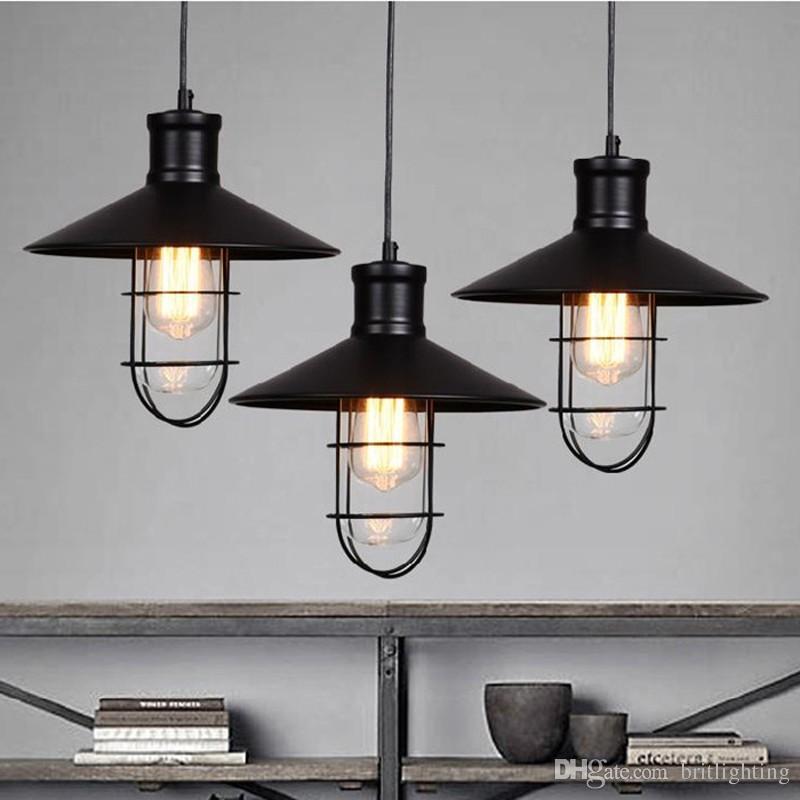 Rustik kolye ışıkları vintage tarzı kolye lambaları yuvarlak metal abajur Kichler kolye aydınlatma Lineer Süspansiyon Aydınlatma siyah renk