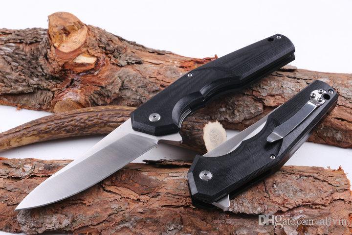 Top Quality Flipper Folding Knife 440C 58HRC Satin Blade G10 Handle EDC Pocket Knife Survival Tactical Folding Knives Gift
