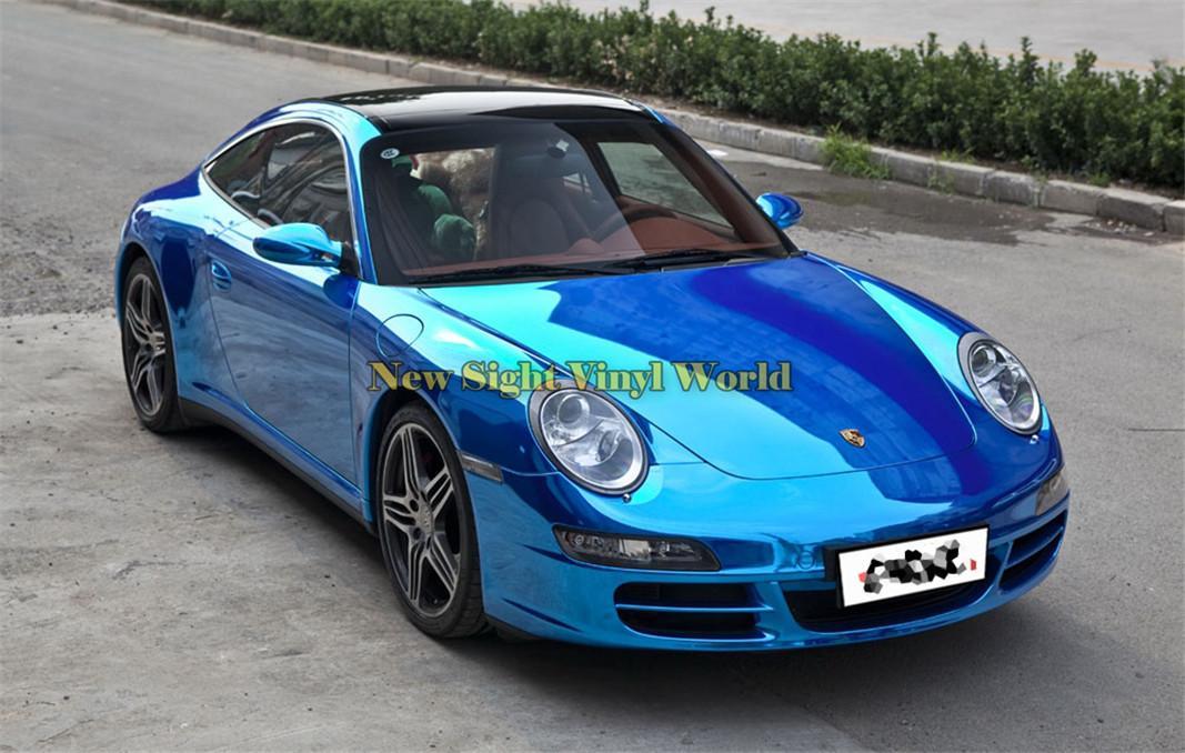 Pellicola vinilica blu lucida flessibile di alta qualità Pellicola blu cromata Avvolgente per la confezione di auto senza bolle