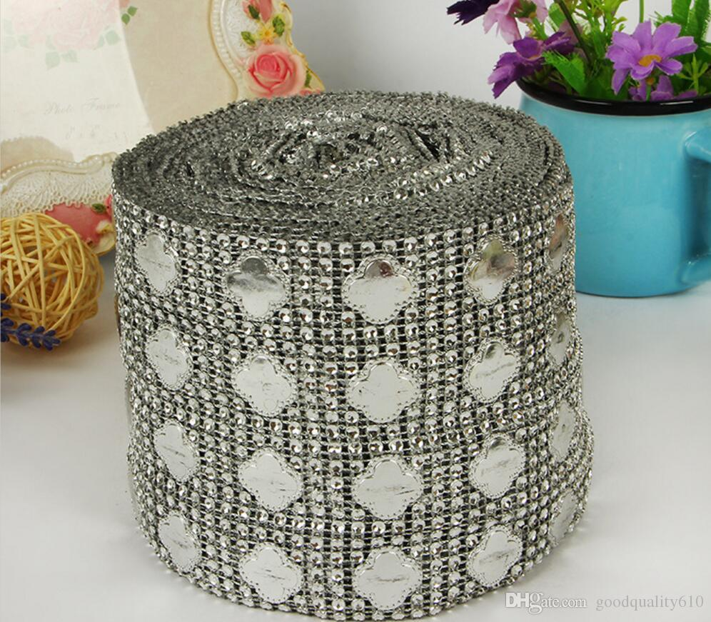 10Yard Clover Rhinestone Bendable Diamond Mesh Wrap Roll Sparkle Ribbon Trim For Wedding Craft Gift Party Decoration