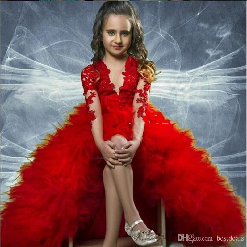 Lovely Red Maniche lunghe Appliqued Hi Lo Tiers Baby Girl Birthday Party Natale Bambini Ragazza Abiti Pageant Flower Girl Abiti economici