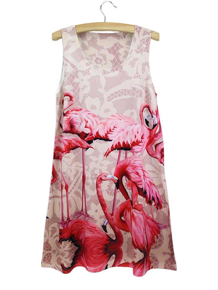 Atacado- 2015 TOP VENDA Moda flamingo 3D imprimir tanque vestido de verão mulheres senhora menina presente padrão de pássaro sem mangas Mini Vestidos freeshipping