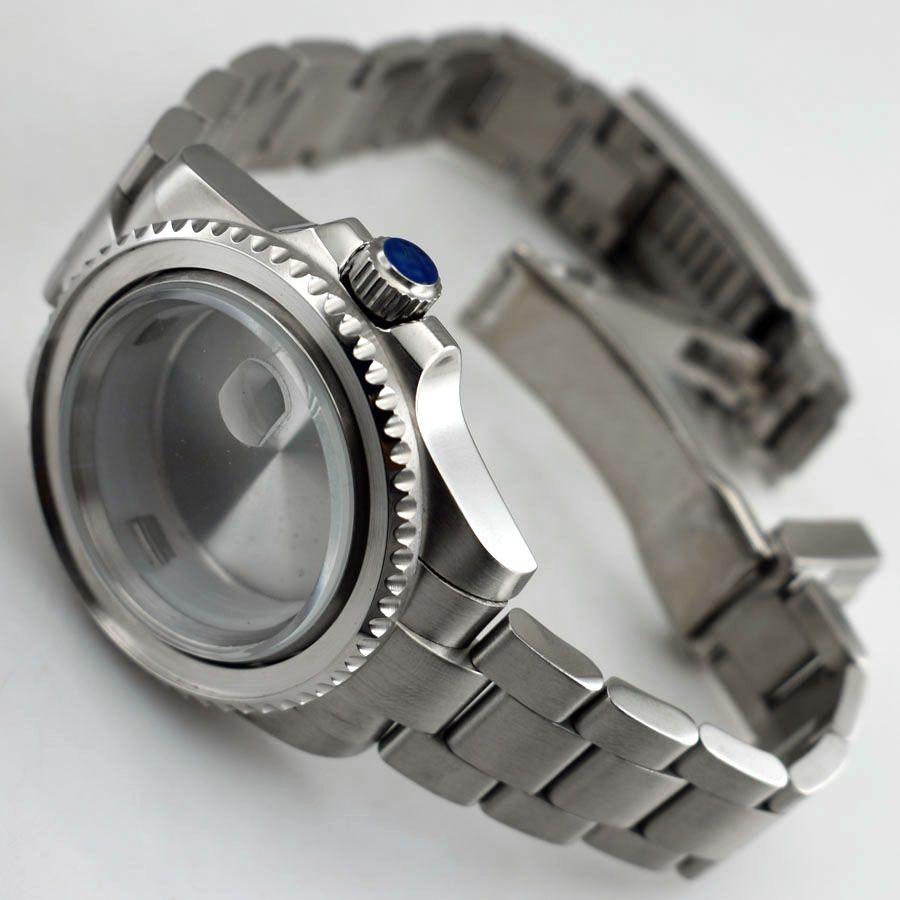 Cassa in vetro zaffiro 40mm per ETA 2836 Mingzhu 2813 3804 Miyota 82 Cassa in acciaio inossidabile argento per orologio da uomo P620