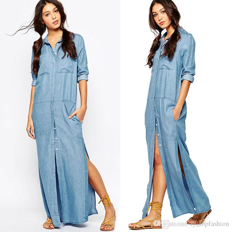 6 Pockets Denim Shirt Dresses Plus Size Button Fly Long Sleeve Washing Jean  Dress 2017 New Arrival Women Maxi Dress M15060201 Dresses For A Party ...