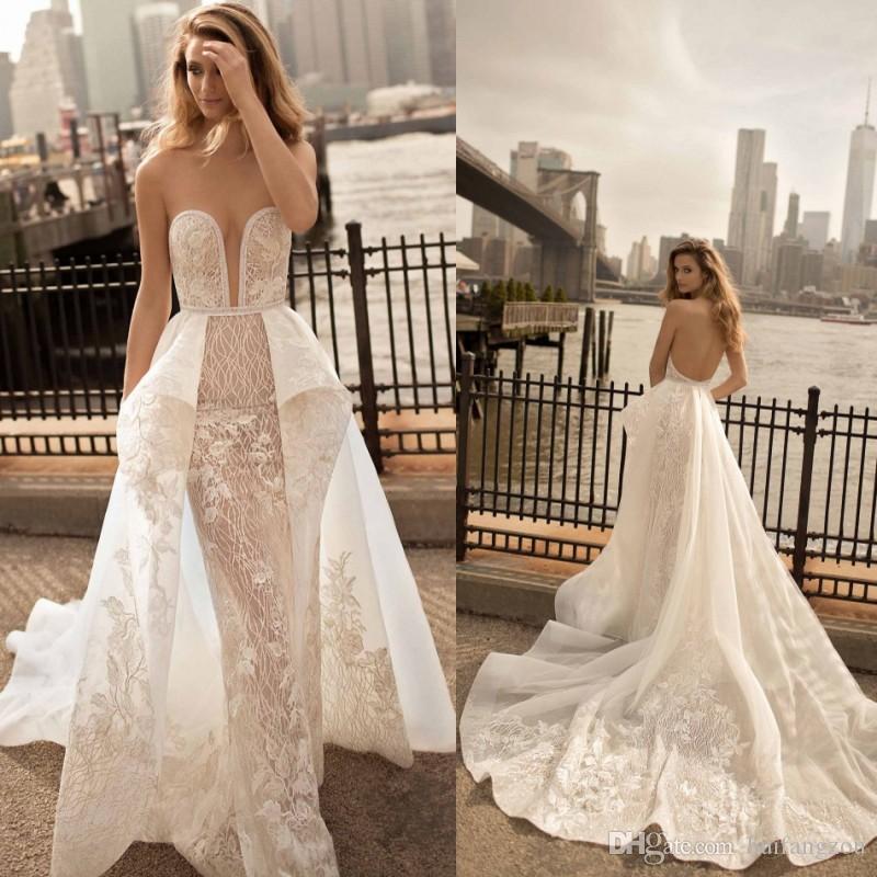 Berta 2018 Sweetheart Neckline Mermaid Wedding Dress Appliques Sash Bridal Gowns Sweep Train Backless Wedding Dress