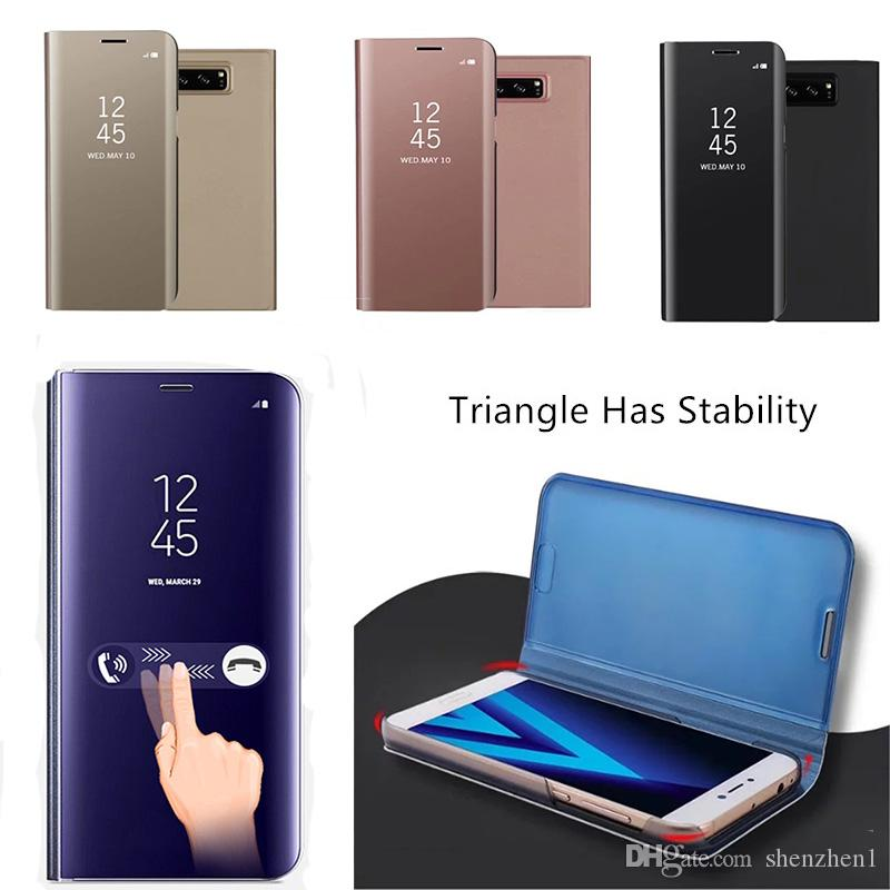 the latest 03e3f 18332 Luxury WindowFlip Case Clear View Standing Cover Flip Case With Kickstand  For Samsung Galaxy S6 S7 Edge S8 Plus DHL Free SCA315 Custom Cell Phone ...