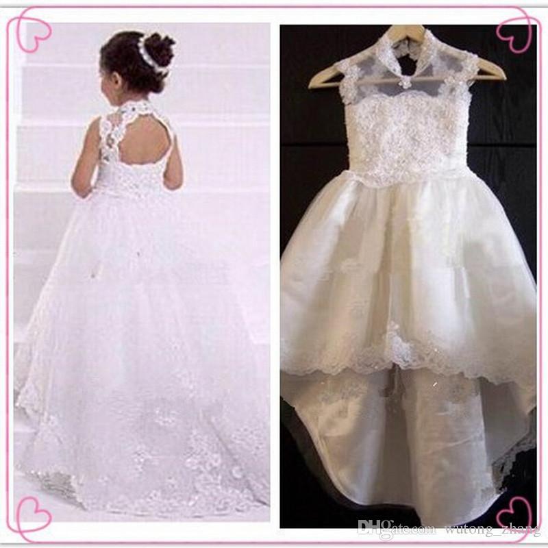 새로운 2017 년 꽃 파는 소녀는 기차 Keyhole와 함께 드레스 웨딩 파티 친목회 작은 옷차림을위한 복장 드레스 키즈 / 어린이 복장