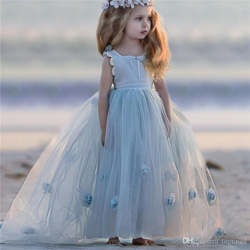 ball gown Flower Girl Dresses for beach Wedding Serenity blue ...