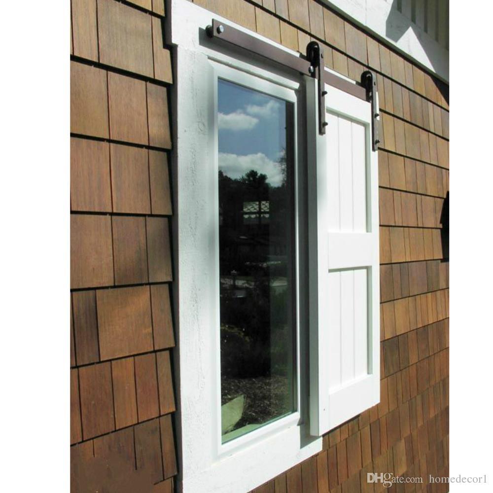 4 - 6.6FT مصغرة واحدة خزانة الخشب انزلاق باب الحظيرة نافذة مصراع الأجهزة المسار بكرة مجموعة عدة