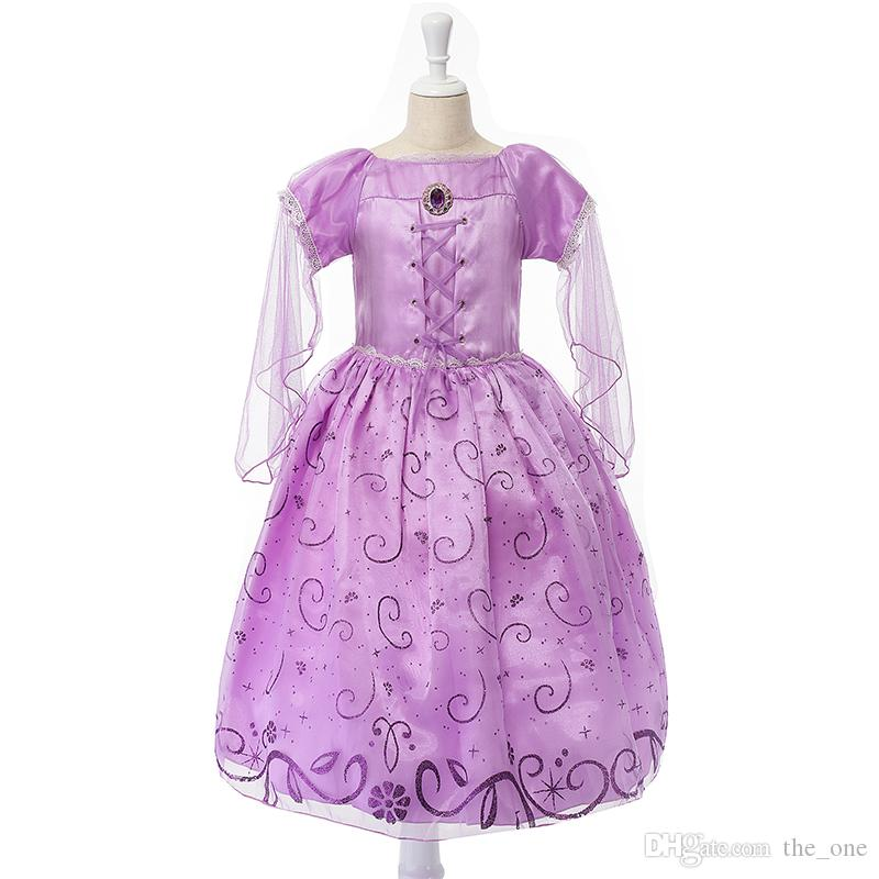 Exclusive dress Children role play Tangled dresses purple Rapunzel costume Halloween party Cosplay dress baby girls free shipping