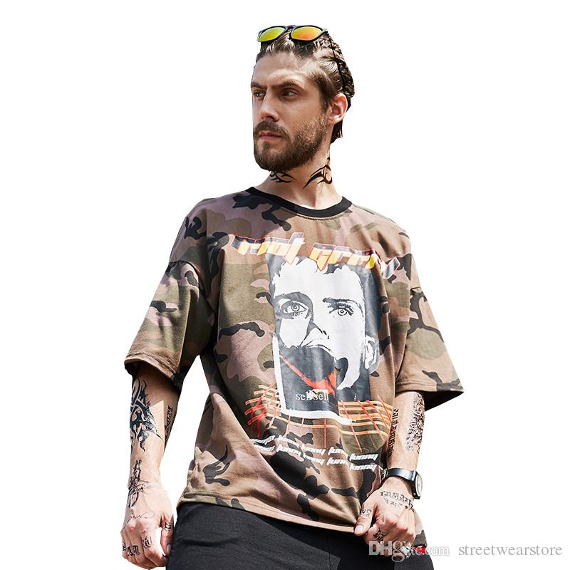 new hip hop MEN'S T shirts camouflage casual short sleeve fashion design Oversized High quality Print pure cotton tees