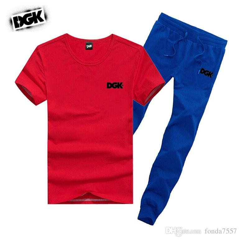 s-5xl M742 SPEDIZIONE GRATUITA uomo DGK tute magliette + pantaloni lunghi skateboard solido hip hop lettera Per il tempo libero tuta