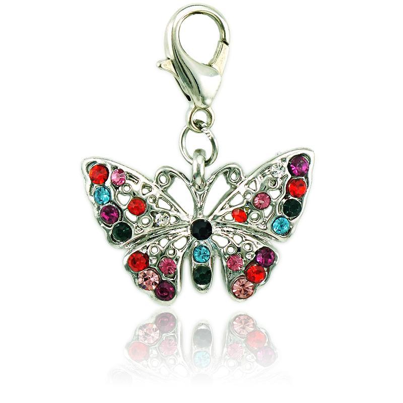 Brand New Fashion Charms con chiusura a forma di aragosta strass trafitto farfalla animale pendenti gioielli fai da te accessori per la fabbricazione