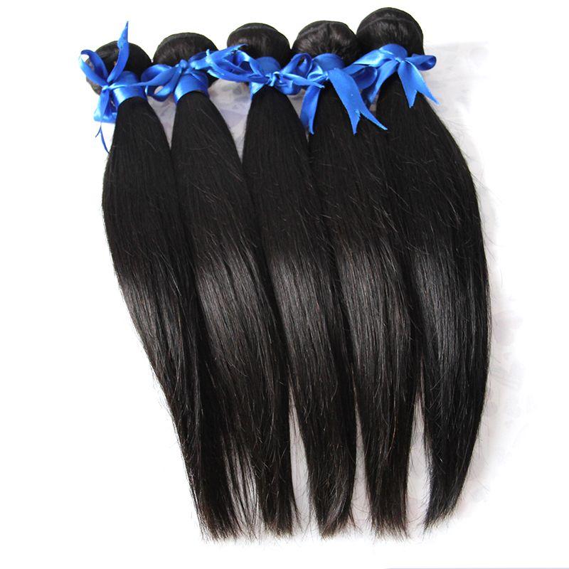 Weave Straight Virgin Hair Brazilian Hair Weave Bundles 500g 5pcs 100% Human Hair Weave Natural Black Color 1b