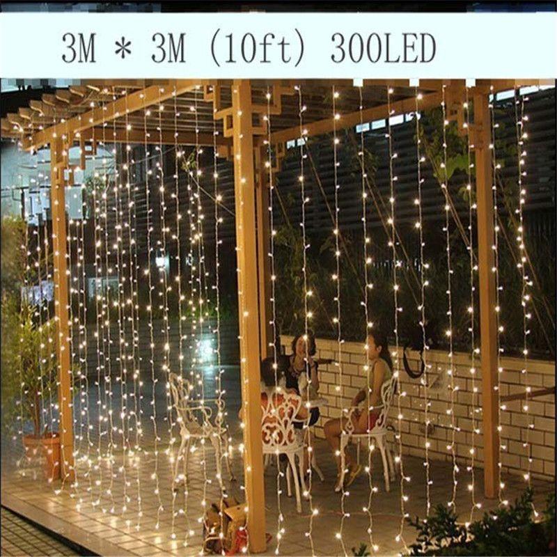 3 M x 3 M 300LED Natal Ao Ar Livre Casa Decorativa xmas String Fada Faixa de Cortina Guirlandas de Luzes Do Partido Para O Casamento Decorações