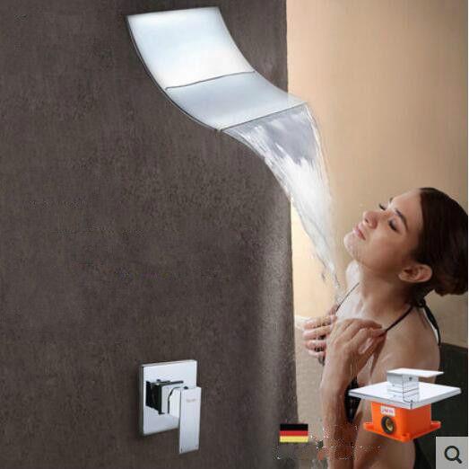 Soffione a cascata quadrato in acciaio inossidabile 200X160mm Soffione doccia a incasso a muro in ottone in ottone 6004