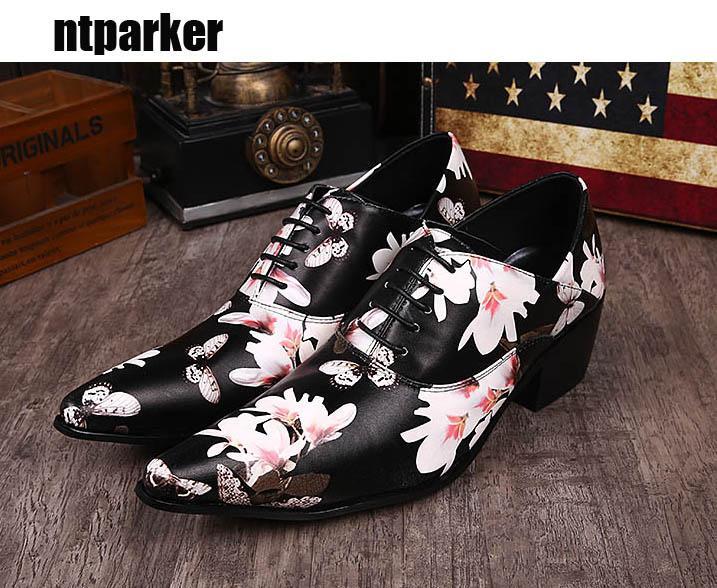 Zapatos Hombre scarpe da uomo, abiti da festa in scena moda scarpe in pelle da uomo a punta Altezza aumentato nero con fiori di stampa! Taglia EU38-46