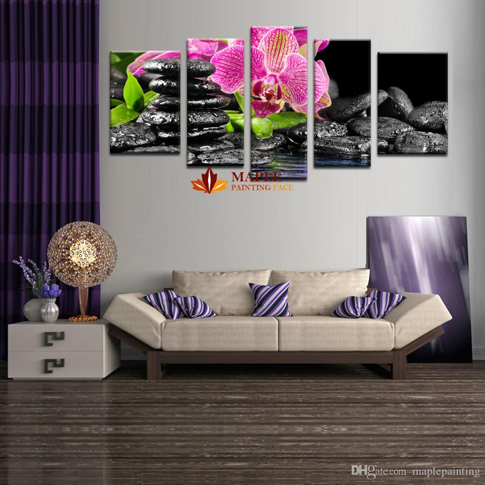 Hot sell 5 piece wall art sets wall painting flower botanical green feng shui orchid decorative pictures for bedroom large canvas art cheap