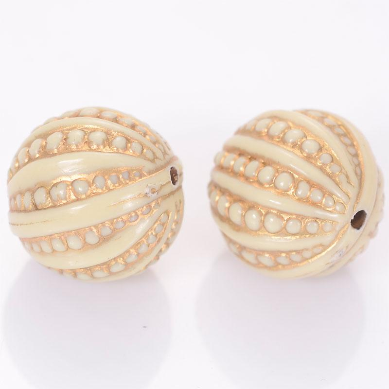 30 Pcs 18mm Stripe Round Acrylic Antique Design Beads For Women Diy Bracelet Bangle Jewelry Making Accessories
