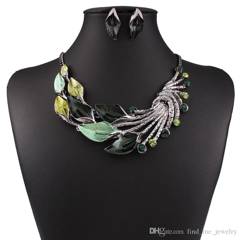 New Vintage Leaves Drop Oil Earrings Necklace 2 sets Bohemian Statement Fashion Diamond Jewelry for Women's Accessories Free Shipping