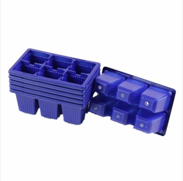 5pcs Plastic Nursery Pots 6 Holes Plant Seedling Tray Sprout Plate Garden Tray Tool Box Blue Color Wholesale (2)