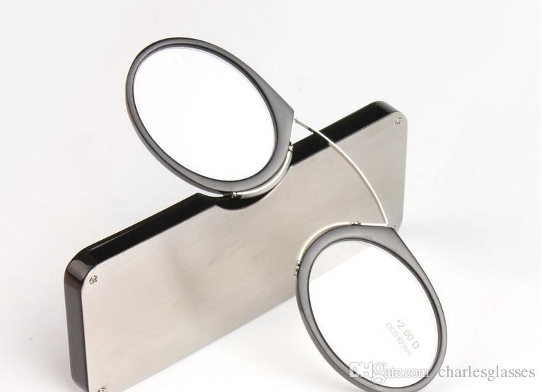 Klein 1pcs SOS Clip-Nase Lesebrille für Männer / Frauen Snap-in Presbyopie Brille mit original Fall schwarz