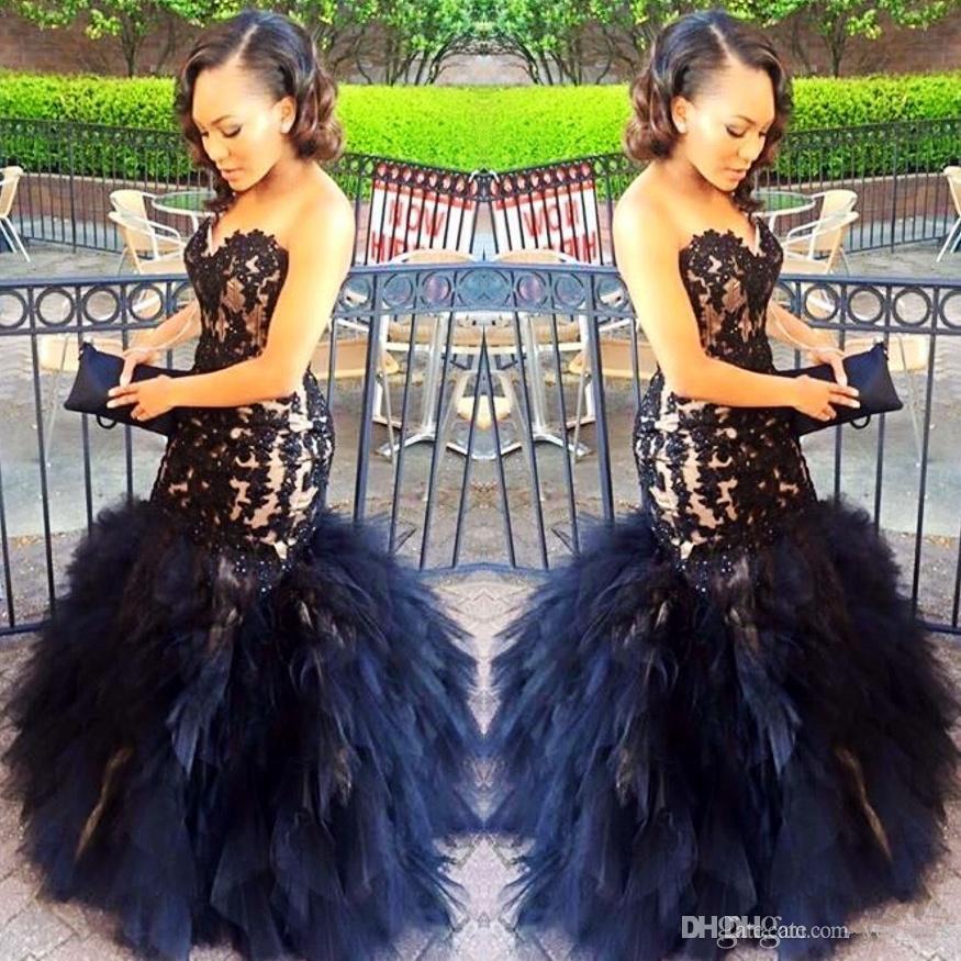 2017 Sexy longo vestidos de baile sereia Sweetheart Beaded Appliques Preto Menina Prom 2K17 Vestidos de Festa de Prom Ruffles Tiered Plus Size vestido formal