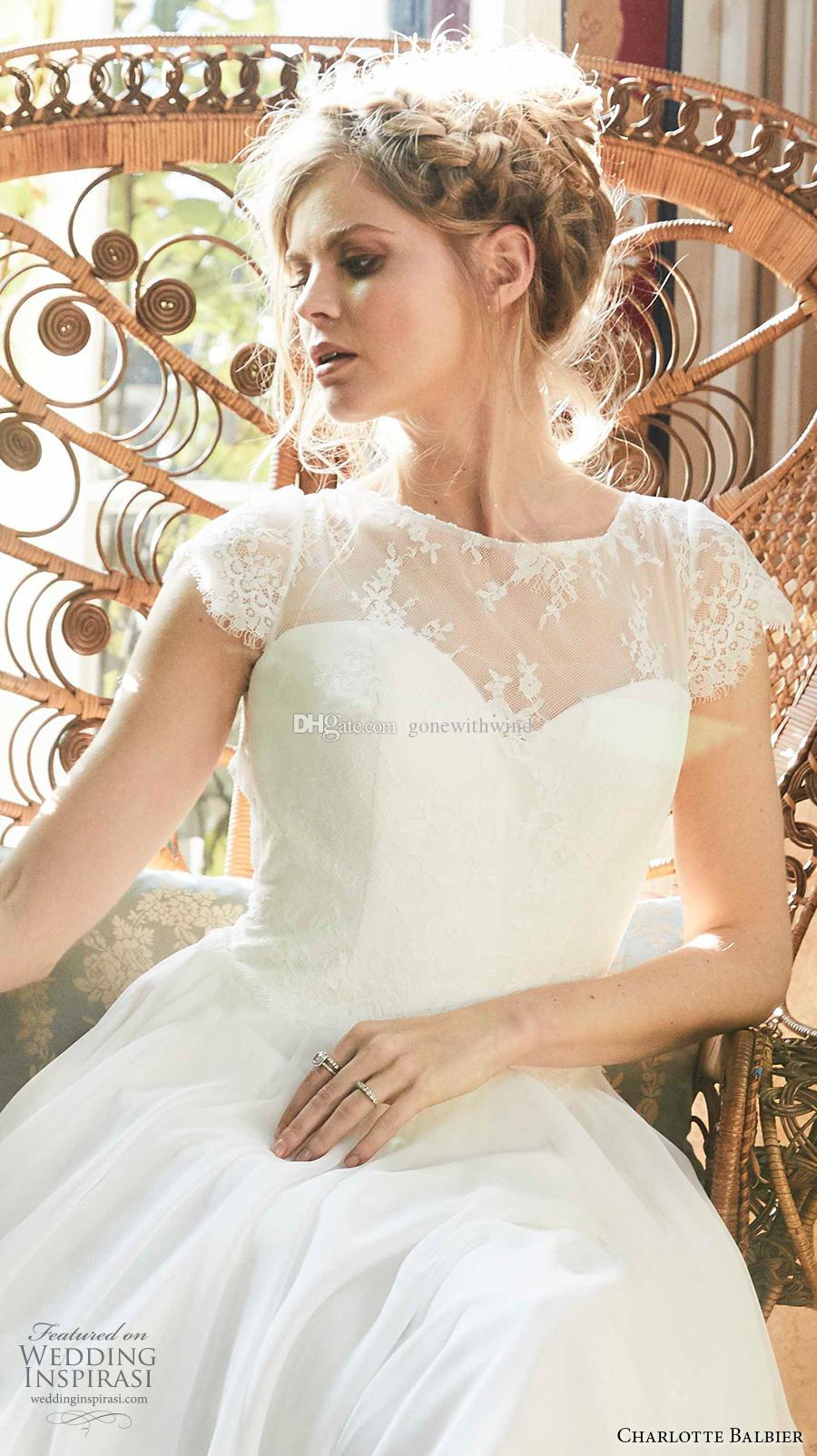 romantic bohemian wedding dresses 2018 charlotte balbier bridal cap sleeves illusion jewel sweetheart neckline short train