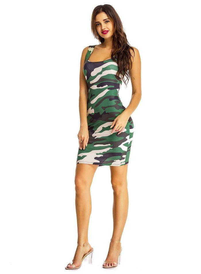 Mode sommer dress 2017 tarnung print dress frauen club party kleider vestidos sleeveless tank casual dress weibliche clothing