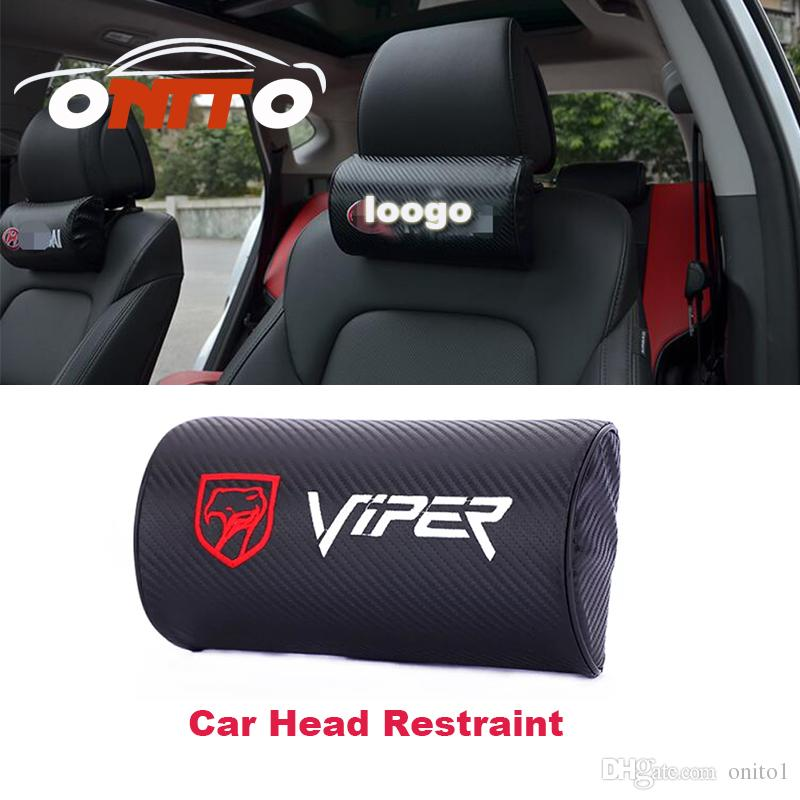 2Pc Black Color Real Leather Car Seat Neck Pillow Car Headrest Fit For Volvo Car