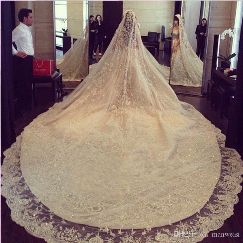 Bridal Wedding Veils White Ivory Sequins Bling 3M Cathedral Lace With Comb