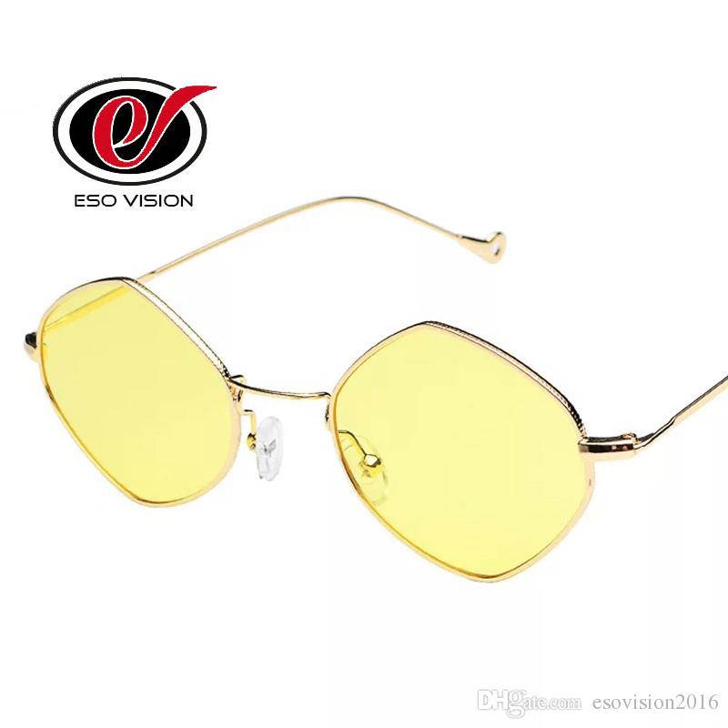 Lady Designer Retro Sunglasses Yellow for Woman and Man Fashion China Cheap Beach Sunglasses pattern Gold Quality Wholesale Free shipping