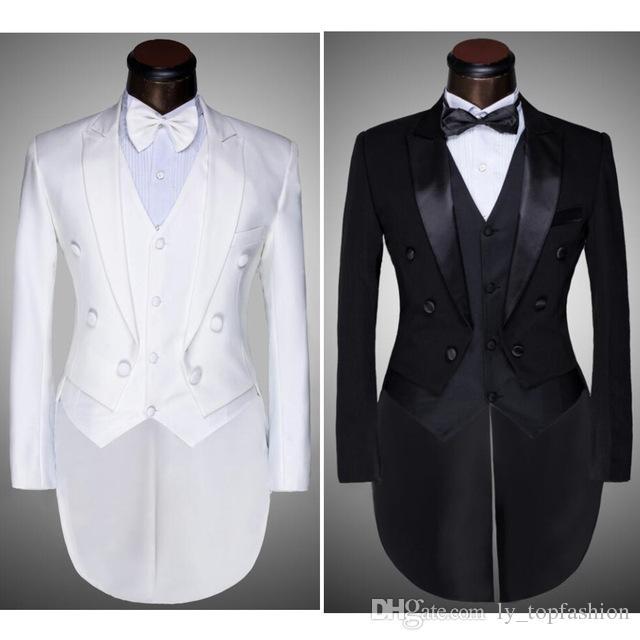 (Jacket + Pants + Vest + Bow tie) 2020 Moda Uomo Abiti Tailcoat Tuxedo Prom cerimonia nuziale dello sposo Bianco Nero Slim Fit Maschio Singer