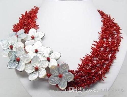 Encantador !!! collar de flores de concha de coral rojo natural
