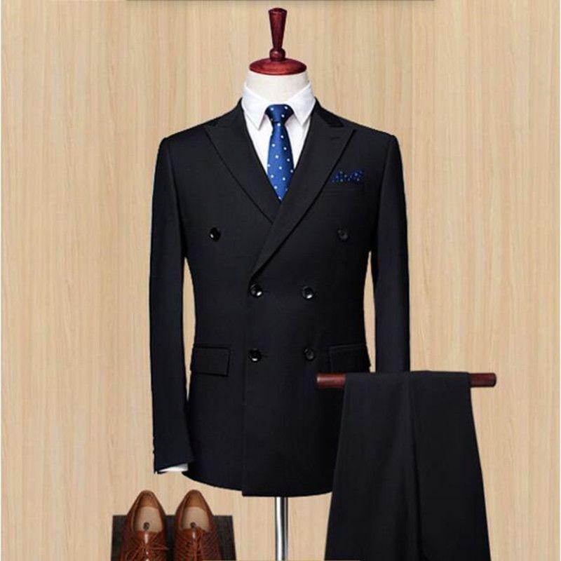 Chegada nova homens ternos smoking preto ternos smoking double breasted casamento groomsman vestido de baile ternos (jaqueta + calça)