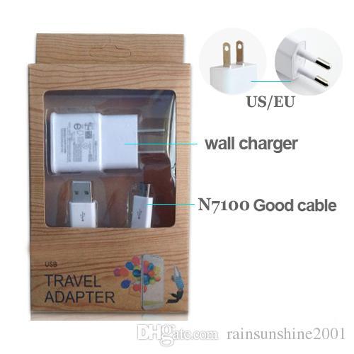 2 em 1 Kits Carregador de Parede 1A com adaptador de energia Carregador Micro USB Cabo Cabo para S3 S4 S6 i9500 i9300 Note2 N7100