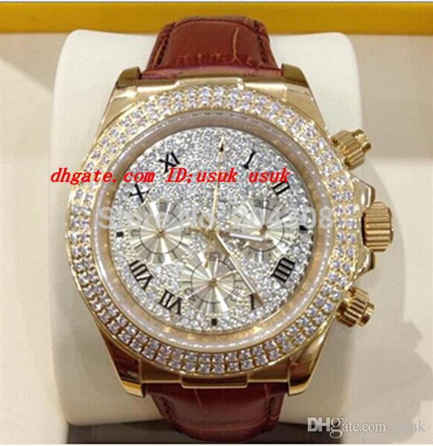 Brand New Luxury Armbanduhr 18 Karat Roségold Pave Diamond Dial 116509 Automatik Herren-Uhr-Lederband Männer Sport Armbanduhren