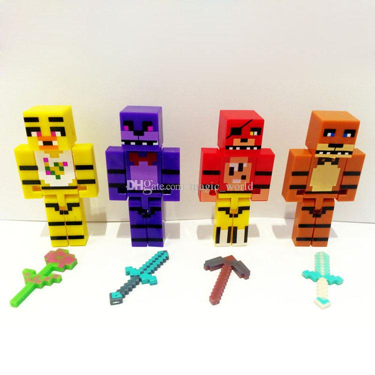Beş Nights freddy'nin At 7 cm Yapı Taşı FNAF Freddy Ayı Bonnie Tavşan Foxy Fox Chica Civciv Action Figure Oyuncak Çocuk Minifigures Xmas Hediye