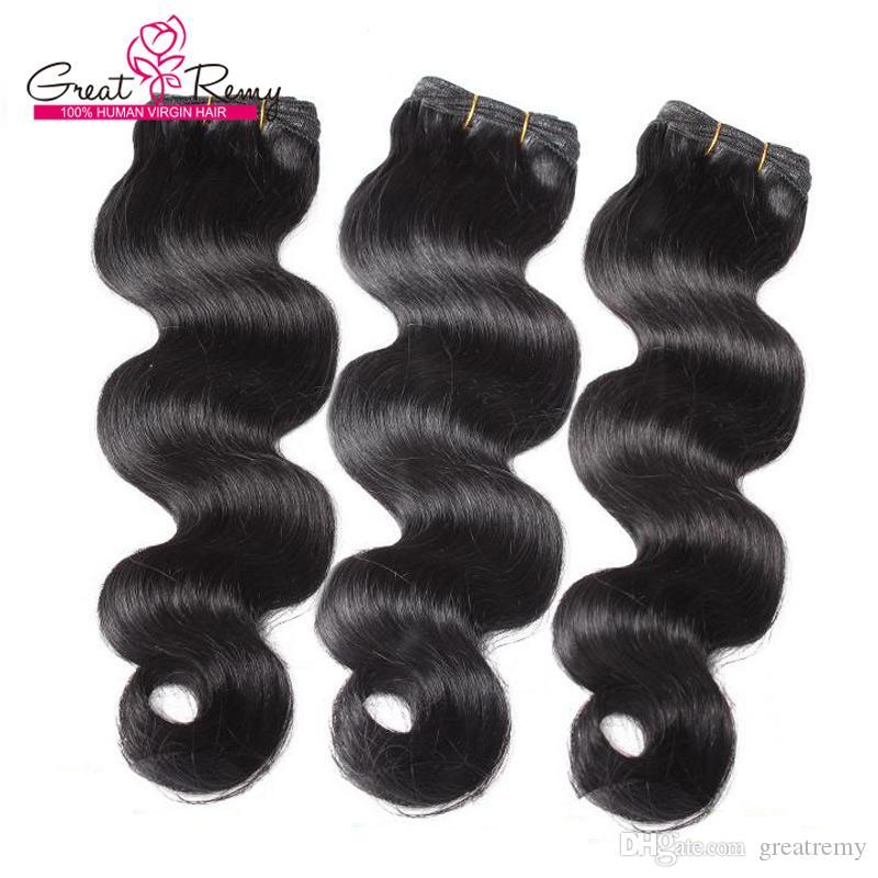 Greatremy® 100% brasilianska hårväftförlängningar # 1b Kroppsvåg Mänskliga Virgin Hair Weave Wavy 3pcs / Lot Färgade hårbuntar