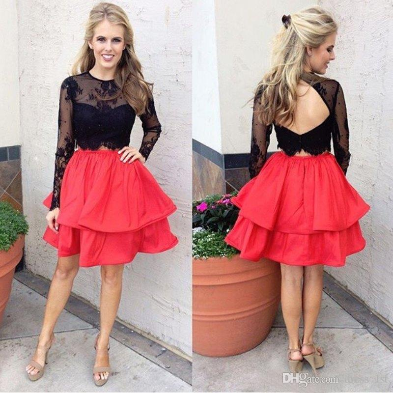 2017 Modest Little Black Lace Top Coral Skirt Two Pieces Short Homecoming Dresses Cheap Long Sleeve Tiered Prom Dress Custom Made EN4266