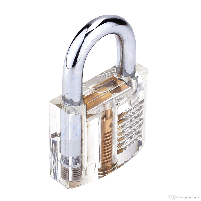Top Padlock Training Tool Clear See-through Practice Lock 2 Key UK Stock