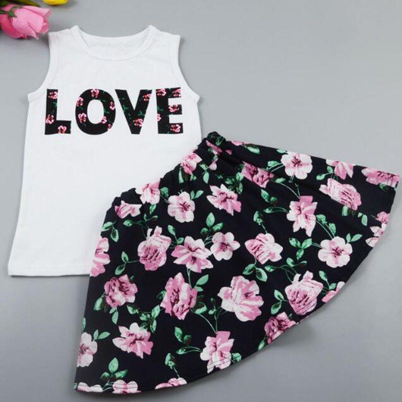 Baby Girls Clothes Sets Fashion Boutique Children flower painting dress sets Kids clothes children tees skirts cotton Outfits 2pcs XZT017