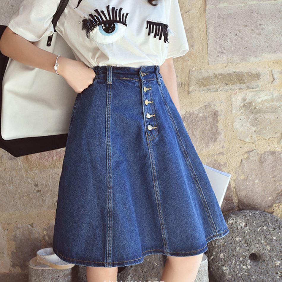 2020 Spring Autumn Jeans Skirt Denim Skirts Knee Length Skirt High Waist Jeans Skirts Jean School Girl Cute Casual Plus Size Hot Wear From Akaya 23 07 Dhgate Com