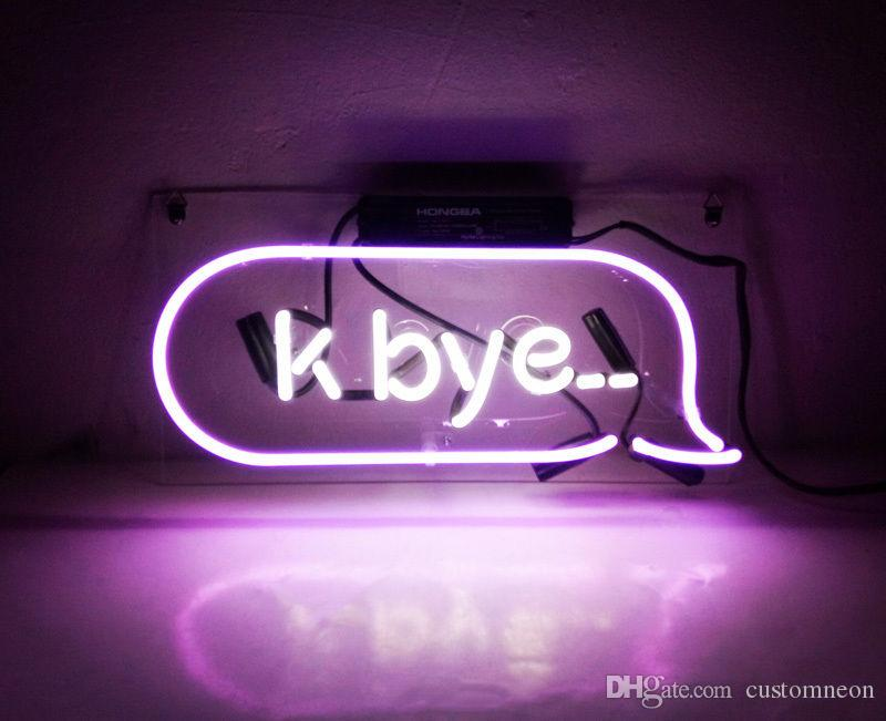 "14""X6"" K Bye Handcraft Neon Sign Store Beer Bar Diaplay Vintage Bontique Light Visual Artwork"