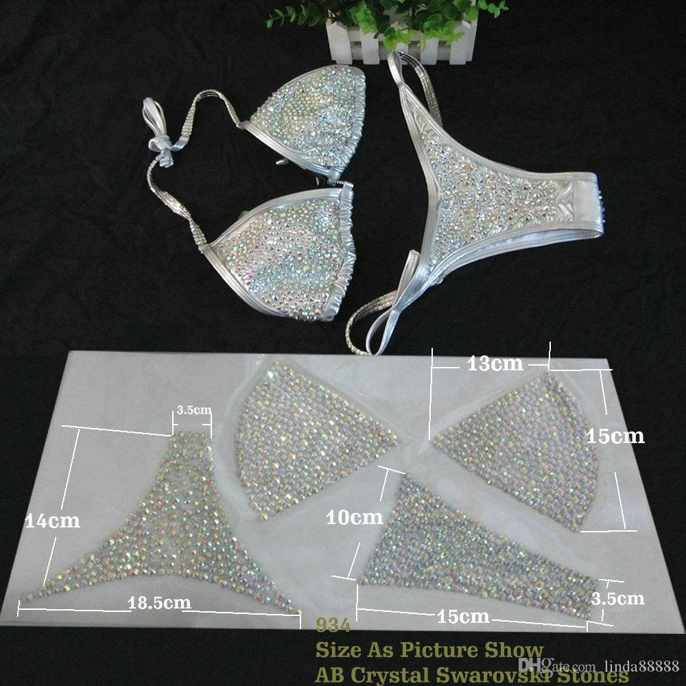 High Quality Bling&Density Swarovski Stones Hotfix Iron On Rhinestone Heat Transfers NPC IFBB Competition Bikini Motifs 15sets/lot