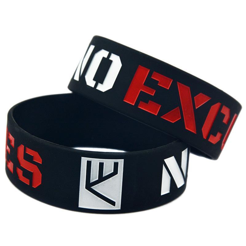 50 шт. Нет оправдания 1-дюймовый широкий силиконовый браслет мотивационный логотип идеально подходит для использования в любых преимуществах подарок
