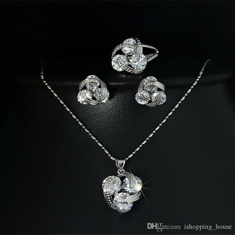 Art- und Weiseringohrring-Halsketten-gesetzte elegante weiße Goldüberzogene 3pcs runde freie CZ-Schmucksachen stellten für Mädchen-Frauen für Partei-Hochzeit ein
